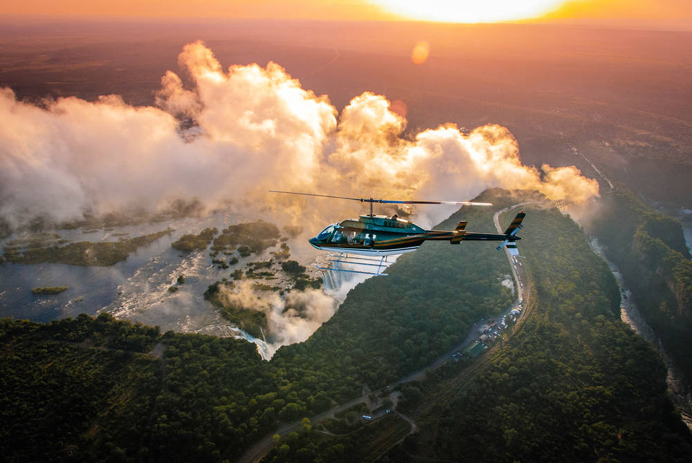 Helicopter excursion over the falls, Victoria Falls Hotel