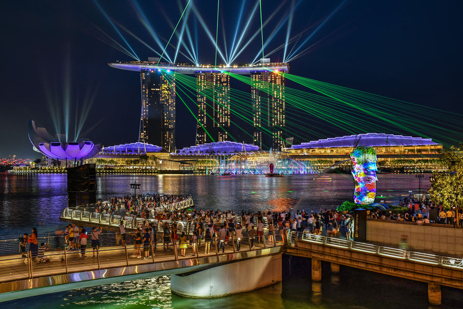 Laser show over Marina Bay