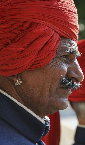 Imperial guard at the City Palace, Jaipur, Rajasthan, India