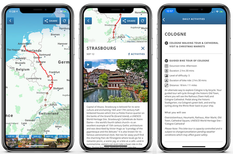 The myAmaCruise mobile app from AmaWaterways