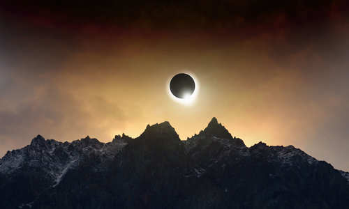 total solar eclipse as Moon passes between planet Earth and Sun