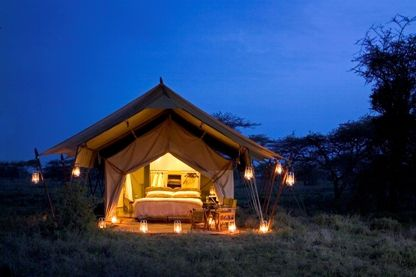 Tented camp by night