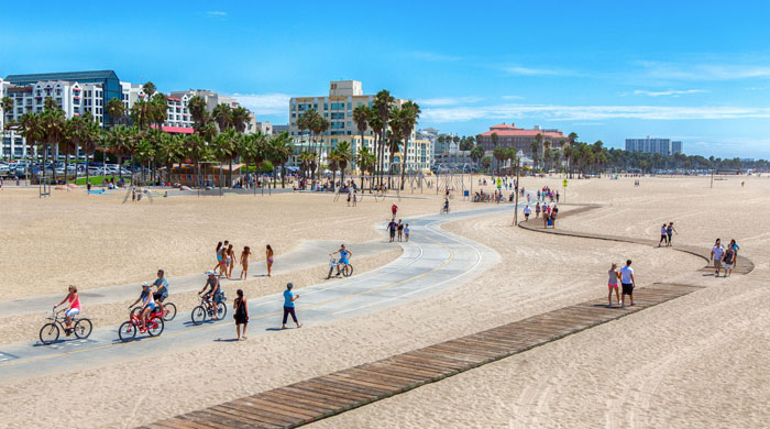 Cycling on Santa Monica Beach, Santa Monica, California