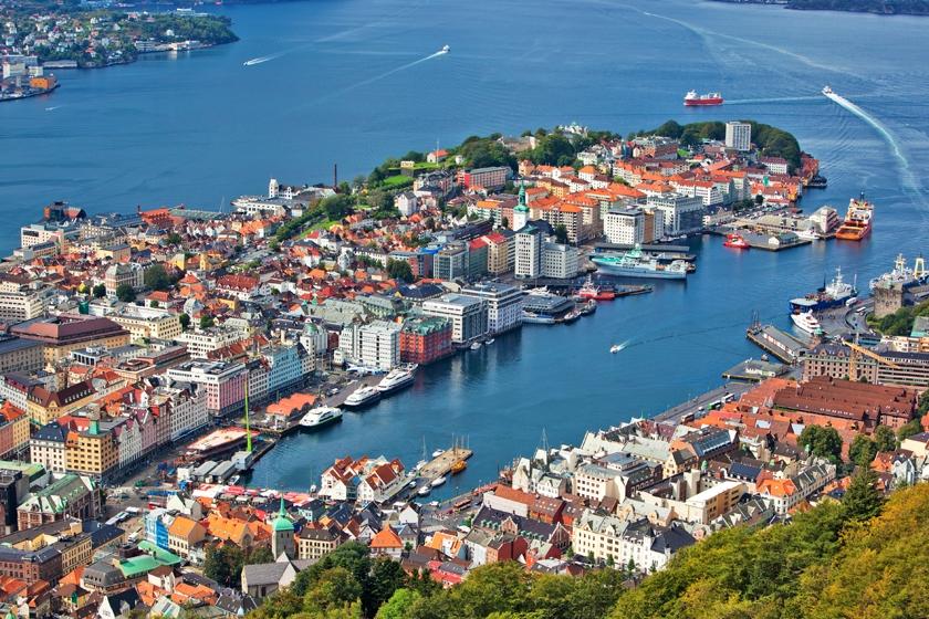Bergen from Mount Floyen, fjord Norway