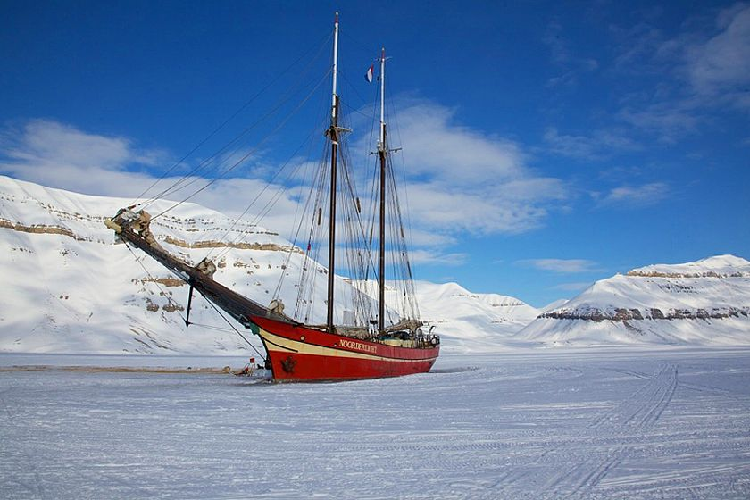 Basecamp ship in the ice