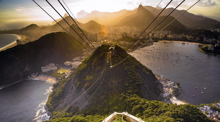 View from the summit of Sugar Loaf Mountain, Rio de Janeiro, Brazil