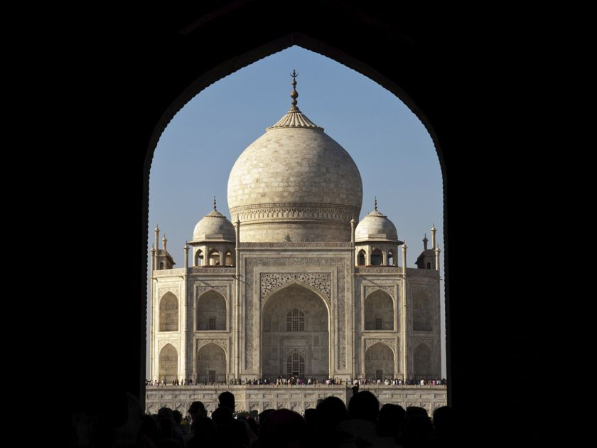 Entering the Taj Mahal, india
