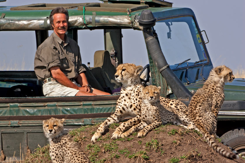 Jonathan Scott with cheetahs in Kenya - image by Angie Scott