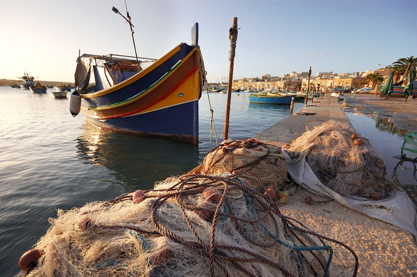 Traditional luzzu fishing boat, Malta