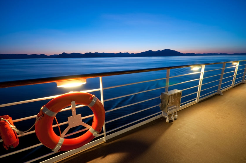 Cruise detail on deck at sunset