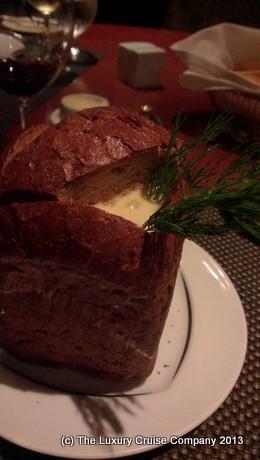 Chowder in bread bowl