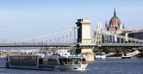 Luxury river cruise ship in Budapest