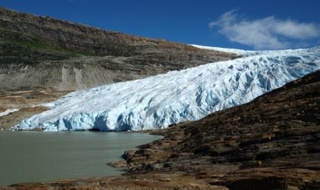 Svartisen Glacier on a sunny day