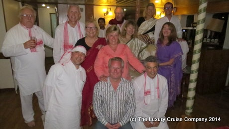 All dressed up on our Brahmaputra river cruise