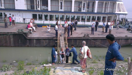 Disembarking at Guwahati, India