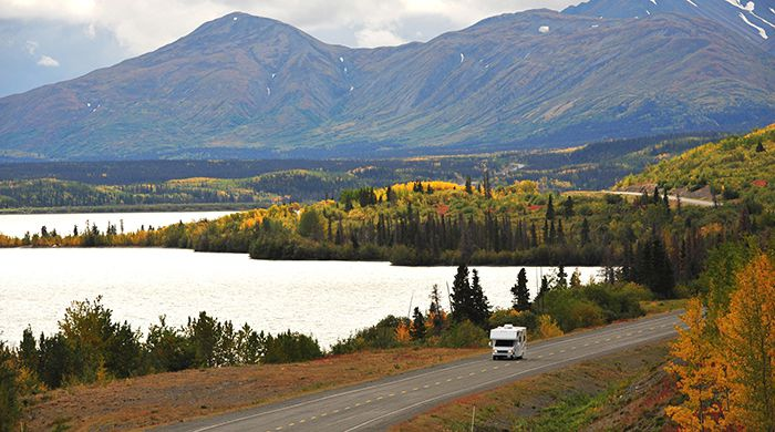 RV on Haines Rd, Dezadeash Lake, courtesy Gov of Yukon