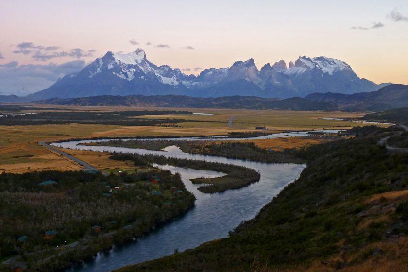 View over Hotel Rio Serrano, Patagonia