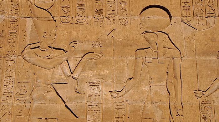Ancient Hieroglyphics seen while cruising Egypts River Nile on the Sun Boat IV