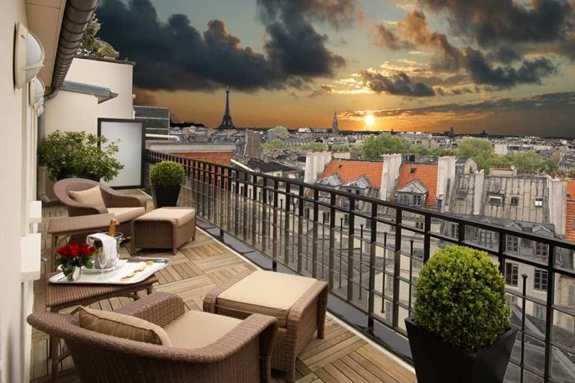 View from Terrace at the Hotel Pont Royal, Paris