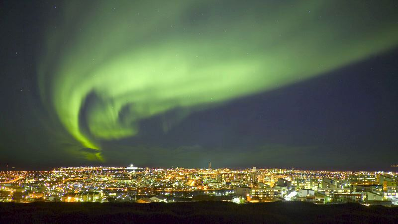 Northern Lights above Reykjavik