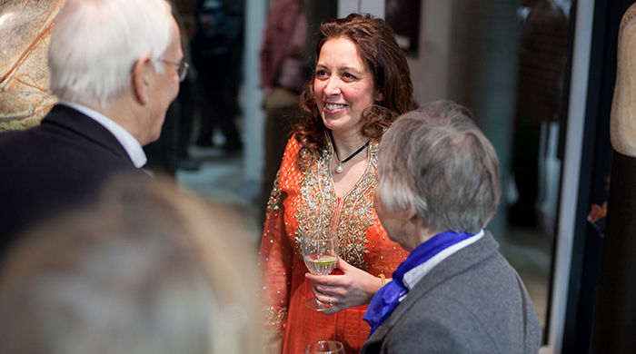 Artist Natasha Kumar talks with guests
