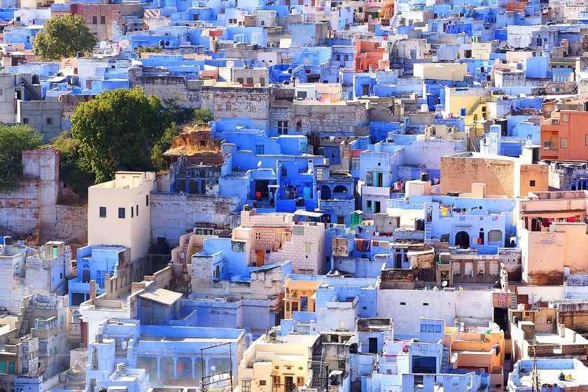Blue buildings in Jodhpur, Rajasthan