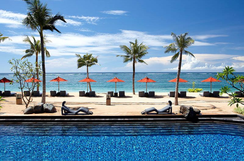 St Regis Bali Resort pool and bay