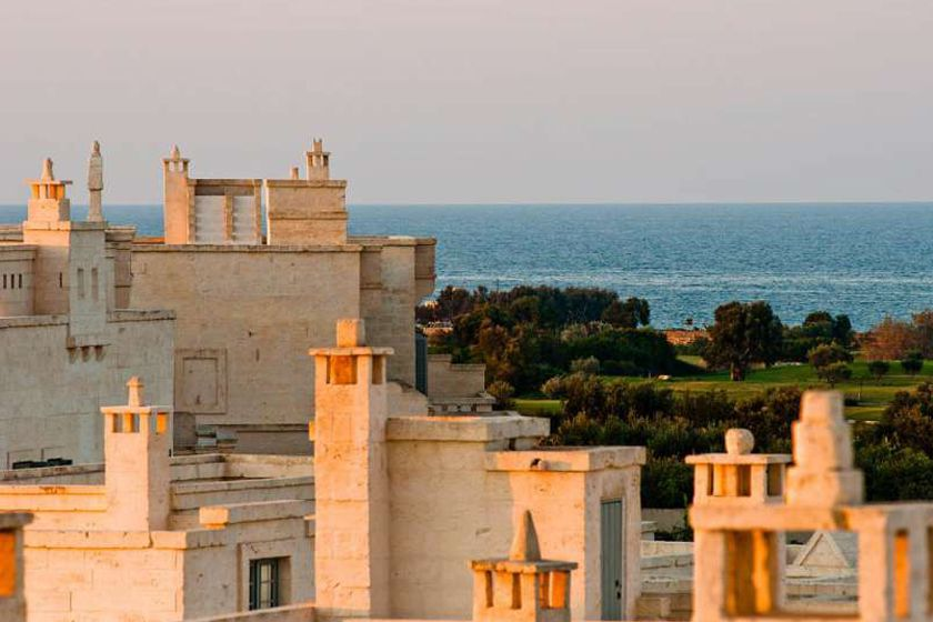 View of sea and golf course at Borgo Egnazia, Puglia