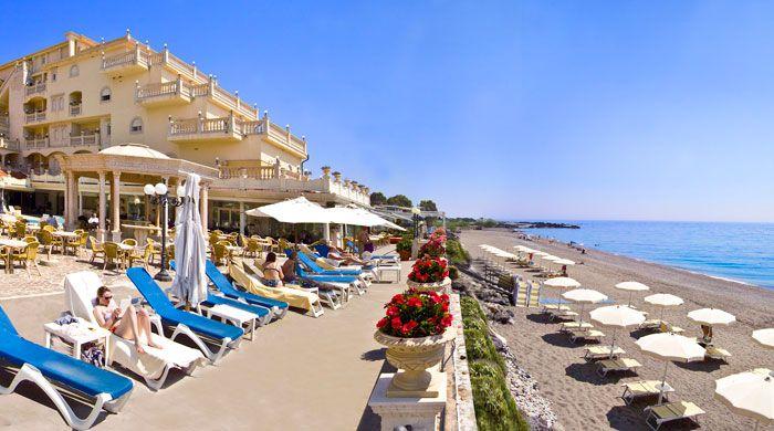 Private beach, Hellenia Yachting Hotel, Sicily