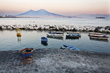 Vesuvius looms over Naples