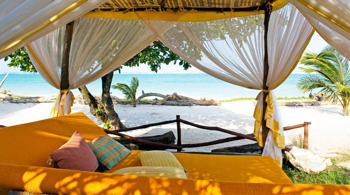 Sun bed on the beac, AfroChic Diani, Mombasa, Kenya