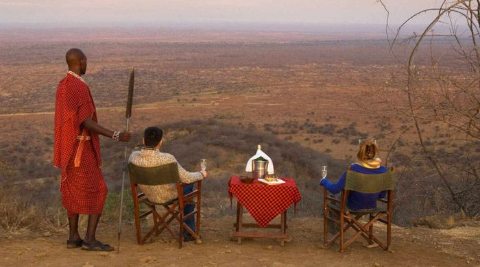 Sundowners at Poacher's Lookout, Severin Safari Camp, Kenya