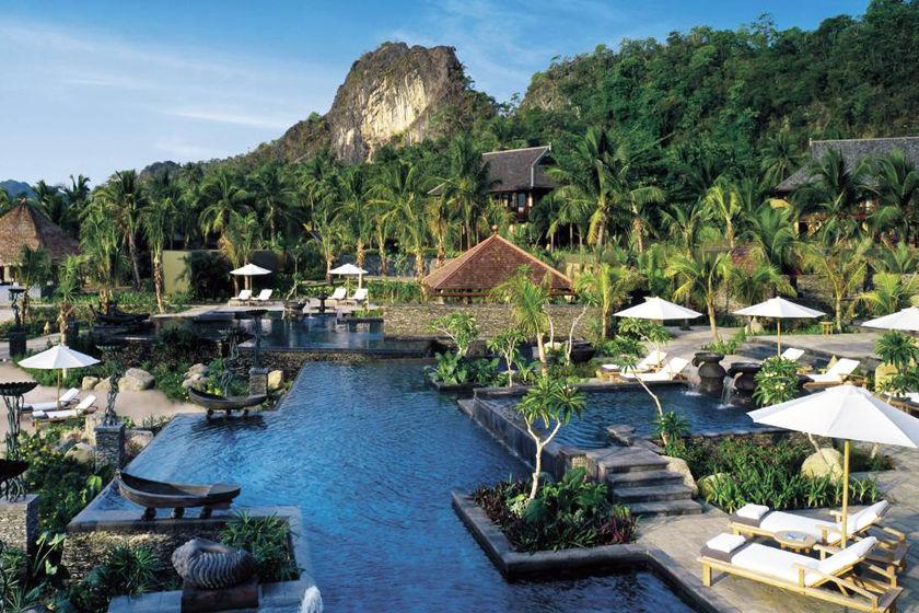 Pool area at Four Seasons Langkawi, Malaysia