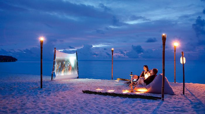 Private cinema on the beach at Constance Moofushi, Maldives