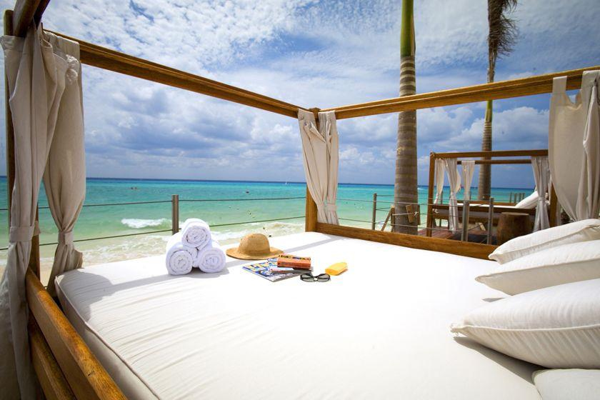 Beach bed at Royal Hideaway Playacar Resort