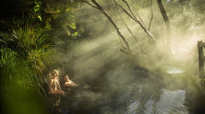 Thermal bathing near Solitaire Lodge, Rotorua