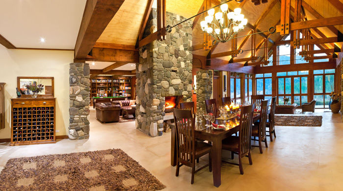 Dining area at Stonefly Lodge, New Zealand