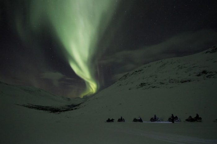 Snowmobile Northern Lights