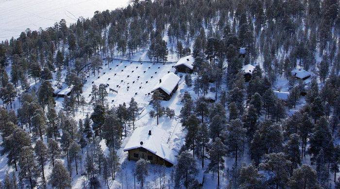 Aerial view of Engholm Husky Lodge, Norway