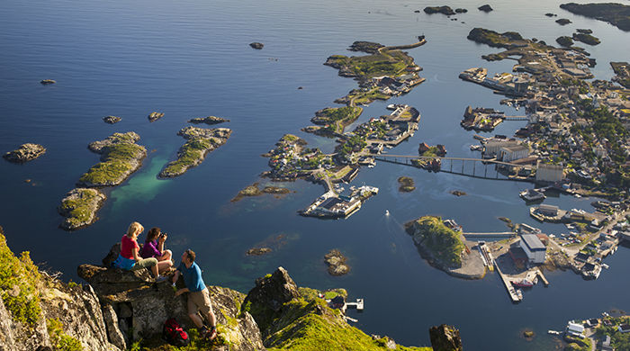 Hiking at Floya looking down at Svolvar, Lofoten islands, Visit Norway