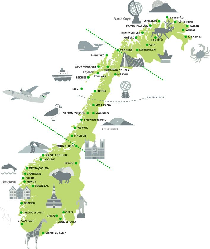 The Wideroe Explore Norway Ticket Day Independent Tour - Norway glacier map