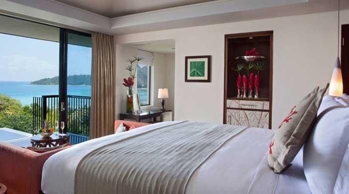 Bedroom at Raffles Praslin, Seychelles