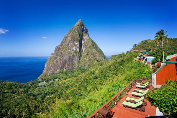 View of the Pitons from Ladera Resort