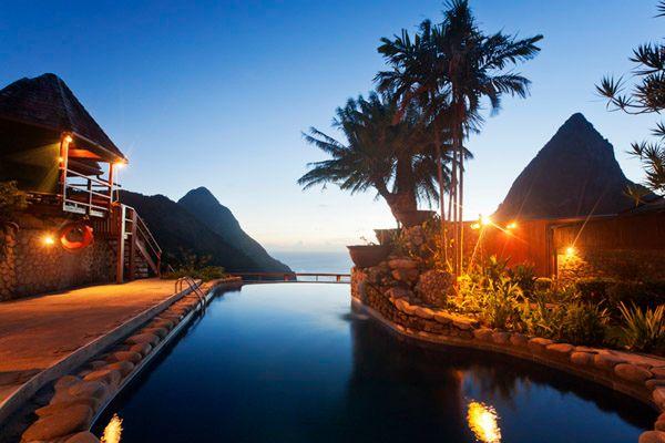 Pool by night at Ladera Resort
