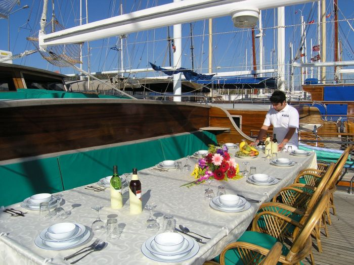 Gulet cruise dining, Turkey