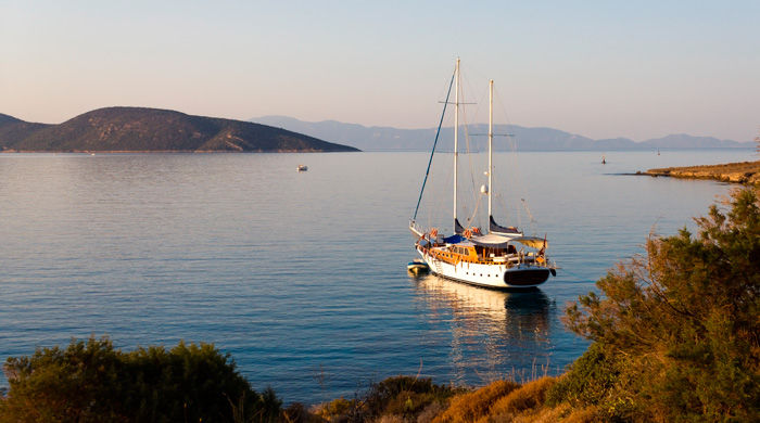 Gulet cruising near Bodrum, Turkey