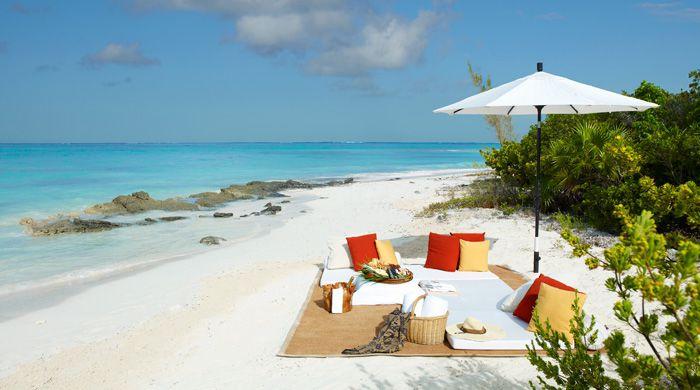 Castaway picnic at Parrot Cay, Turks & Caicos