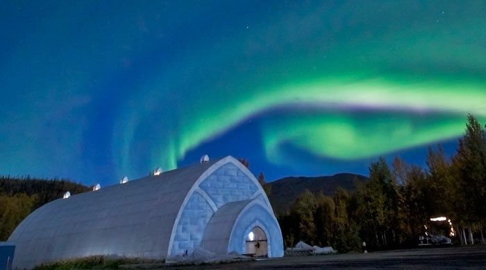 Alaska's Northern Lights over the Aurora  Ice Museum