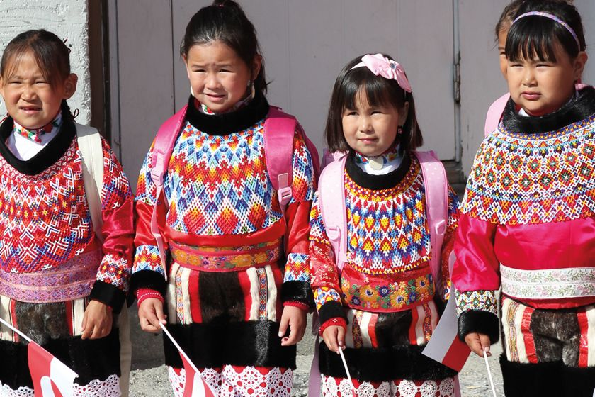 School children in traditional costume, Greenland