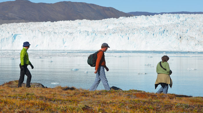Hiking near the Eqi Glacier, Greenland